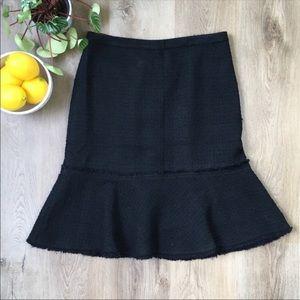 J. Crew Black Textured Wool Trumpet Skirt sz 8